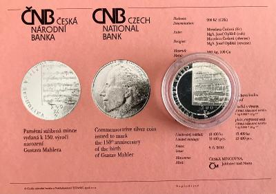 Stříbrná mince 200 Kč Gustav Mahler 150. výročí narození 2010 Proof!