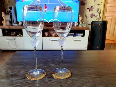 2x Sklenky na víno,,,Rosenthal Versace meduza...signované,,,sleva!!!