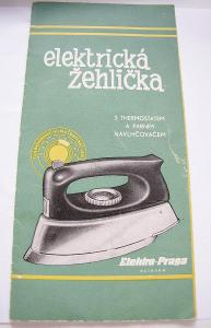 Návod na obsluhu + záruční list žehlička  ET 205 Elekro Praga r. 1959