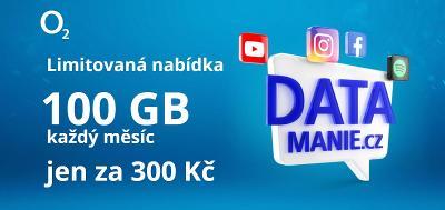 Datamanie O2 - 100GB za 300 kč    NOVÁ SIMKA
