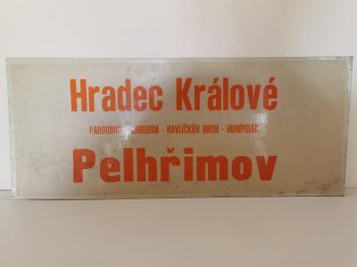 Originální plastová cedule z autobusu Hradec Králové - Pelhřimov 52x22