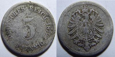 Německo Císařství 5 Pfennig 1875A F č30726
