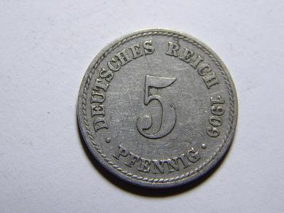 Německo Císařství 5 Pfennig 1909A XF č29707
