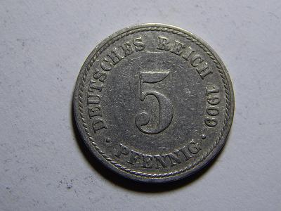 Německo Císařství 5 Pfennig 1909A XF č29744