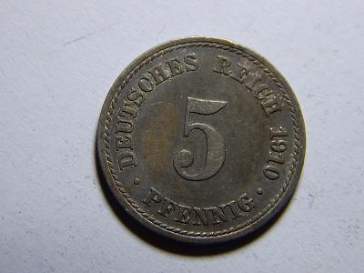 Německo Císařství 5 Pfennig 1910A XF č29732