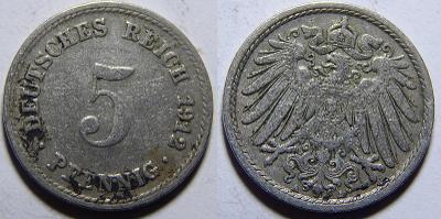 Německo Císařství 5 Pfennig 1912A XF č30733