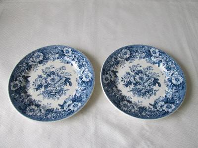 Dva dezertní talířky - modré květy , Holandsko
