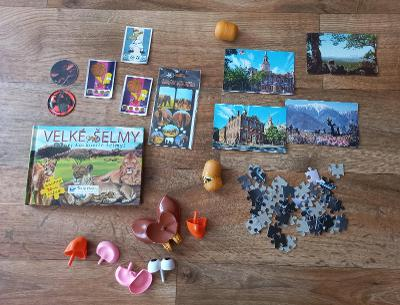 Velké šelmy - 24 dílků puzzle komplet,kartičky Simpsons, Toy Story ...