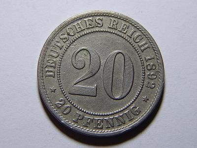 Německo Císařství 20 Pfennig 1892A XF č25253