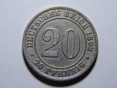 Německo Císařství 20 Pfennig 1892A XF č25256