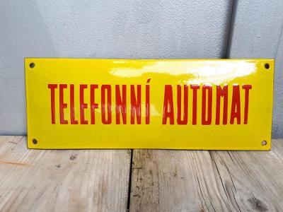 TELEFONNÍ AUTOMAT  - smalt cedule