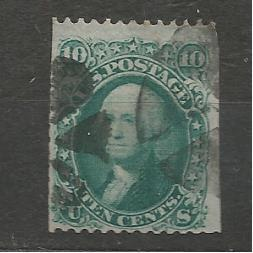 Mi:US 20W 10c 1867, jen vodorovné zoubkování