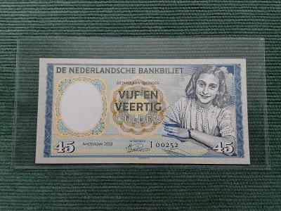 45 gulden, Anne Frank, J 00252, stav UNC