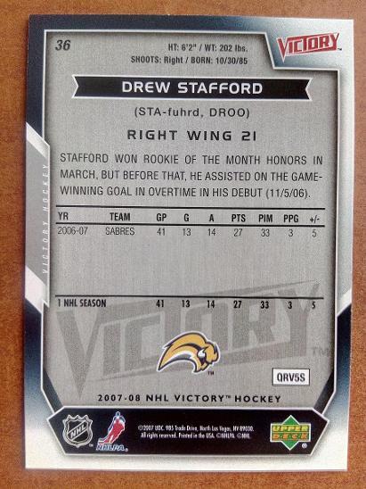 Drew Stafford, Buffalo Sabres, #36, UD Victory 2007/08 - Sportovní sbírky