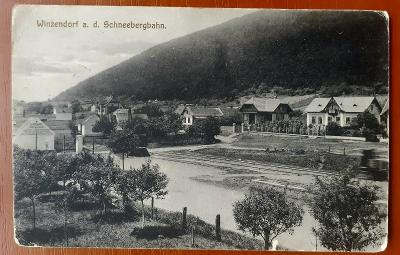 Winzendorf a.d. Schneebergbahn - STARÁ POHLEDNICE prošlá poštou 1917