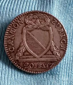 SWISS CANTONS 20 Batzen 1813 Zürich Coin, ZURICH, Zürich