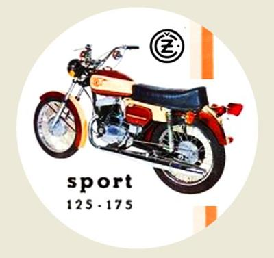 ČZ sport 125-175, exportní typ, bílá samolepka pr.7-(1x).