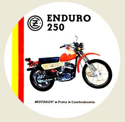 ČZ enduro 250, exportní typ, bílá samolepka pr.7-(1x).