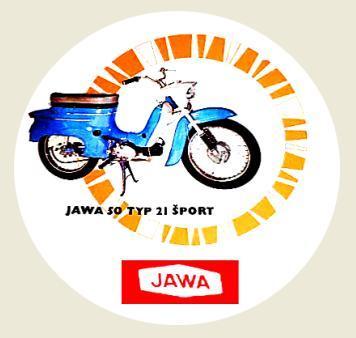 JAWA 50, typ 21 Šport, bílá samolepka pr.7-(1x).