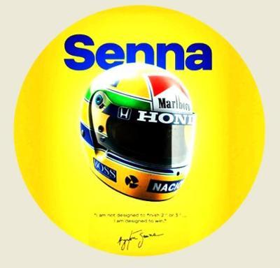 AYRTON SENNA, designed to win helmy a podpis bílá samolepka pr.7-(1x).