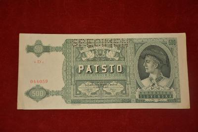 bankovka 500 korun Slovenských 1939 série 6De perforovaná