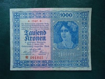 1000 Kronen 1922 Bez Pretisku  Hezka