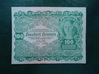 100 Kronen 1922 Bez Pretisku Luxusni Stav