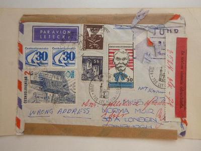 RETOUR  7 známek a 7 razítek KRNOV 700 LET MĚSTA Ostrava KA na obálce