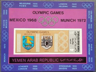Jemen YAR 1968 Olympijské hry, 1ks aršík kat. 25Euro!