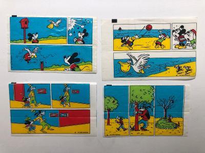 4x starý žvýkačkový obal - obrázek - Disney Donald