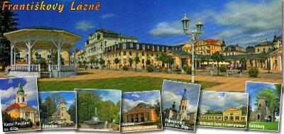 Františkovy Lázně - celkový pohled, kostel, zámeček, kolonáda, dlouhá
