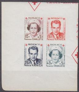 MONACO - MONAKO - ČERVENÝ KŘÍŽ 1949 SOUTISK Mi.: 397-400 B - **svěží**
