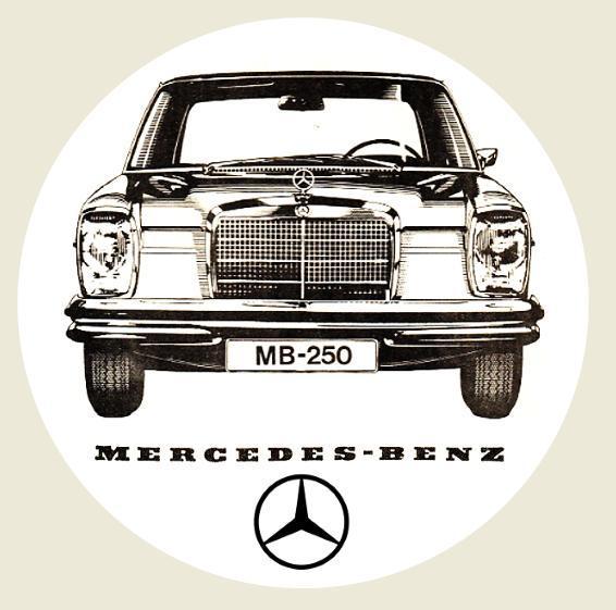 Mercedes - Benz , MB 250, bílá samolepka pr.7-(1x). - Motoristické předměty