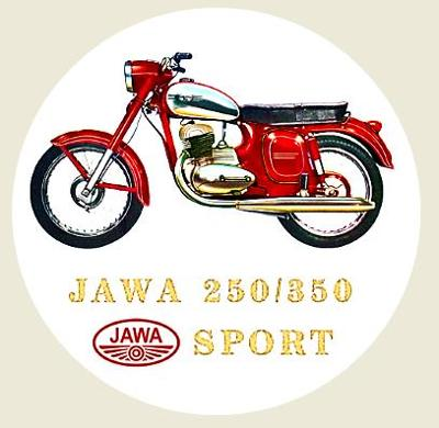 JAWA  SPORT 250 typ 590, SPORT 350 typ 361, bílá samolepka pr.7-(1x).