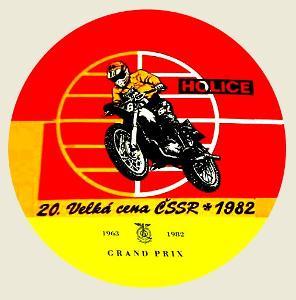 20. Velká cena ČSSR * 1982 HOLICE, bílá samolepka pr.7-(1x).