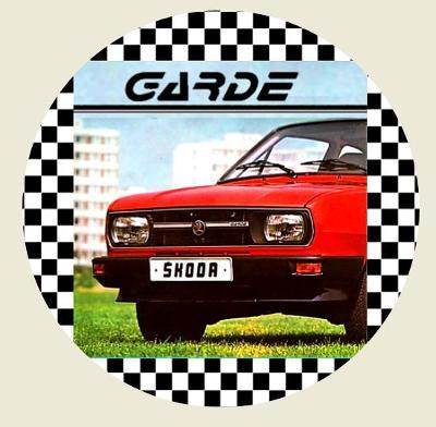 ŠKODA GARDE, červená barva, předek vozu, bílá samolepka pr.7-(1x).