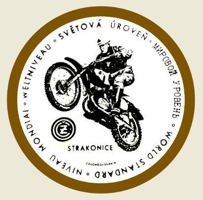 ČZ Strakonice, světová úroveň, motokros, bílá samolepka pr.7-(1x).