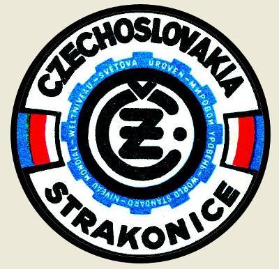 ČZ Strakonice,světová úroveň,Czechoslovakia, bílá samolepka pr.7-(1x).