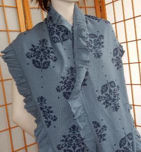 Šátek modro šedá barva růže volánky 57x230 jako nový