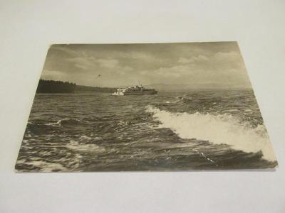 Prodávám pohlednici Lipenské jezero s lodí, ČB