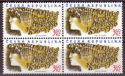 POF. 100 - FILHARMONIE, 1996 - ČTYŘBLOK S DV 18/1 + 19/1 (T7893)