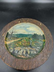 Ručně malovaný, dřevěný talíř...(14409)