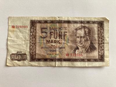 Bankovka-Fünf Mark-DDR-1964