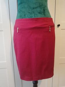 YESSICA-Dámská elastická pouzdrová, bavlněná mini sukně,červená, M.