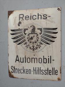Smaltovaná cedule Reichs Automobil Strecken - Hilfsstelle sarožitná