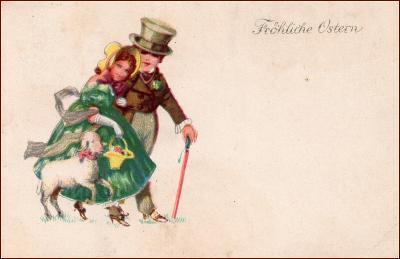Velikonoce * žena, muž, dvojice, ovečka, košík, gratulační * M5047