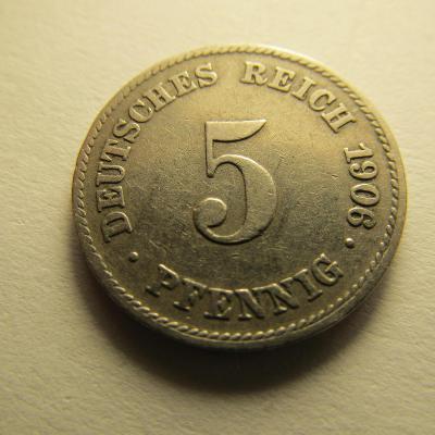 Německo, Kaiser Reich , 5 pfennig z roku 1906 J