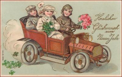 Nový rok * děti, staré auto, čtyřlístek, květiny, tlačená * M2489