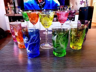 Moser sklo,,,12 ks limitovaná edice rytých sklenic!!!sleva do zítra