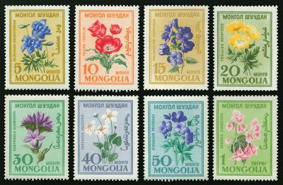 Mongolsko 1960 Známky Mi 184-191 ** květiny
